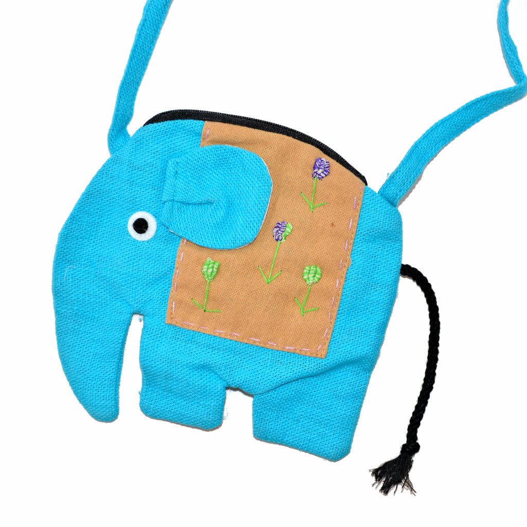 Elephant Shaped Mini Sling Bag - Large (Light Blue & Tan)