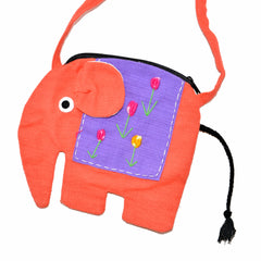Elephant Shaped Mini Sling Bag - Large (Peach & Purple)