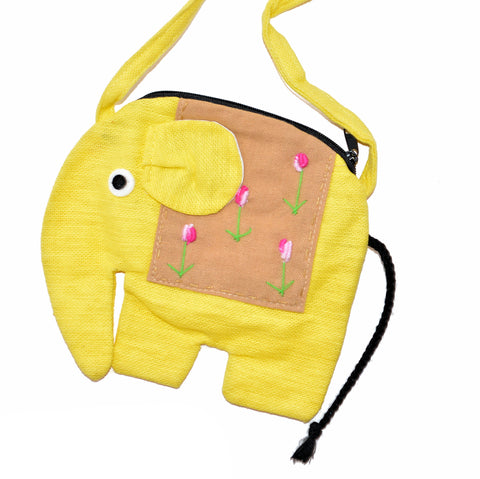Elephant Shaped Mini Sling Bag - Large (Yellow & Tan)