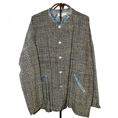 Hmong Batik Jacket - Black & White with Blue Batik Trim