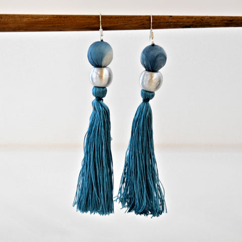Shibori Earrings - Teal