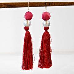 Shibori Earrings - Crimson