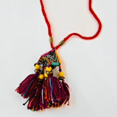Hill Tribe Ornamental Necklace - Black/Red