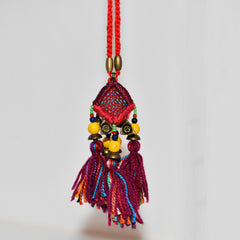 Hill Tribe Ornamental Necklace - Burgundy/Red