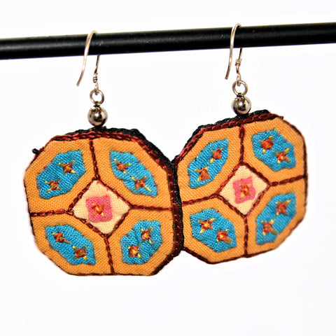 Hmong Fabric Earrings (Yellow with Blue accents)