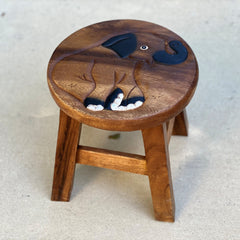 Carved Wood Child's Elephant Stool - Sitting Elephant