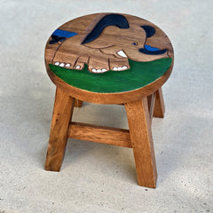 Carved Wood Child's Elephant Stool - Elephant on Grass