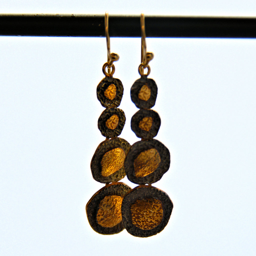 Four Dangling Circle French Hook Earrings