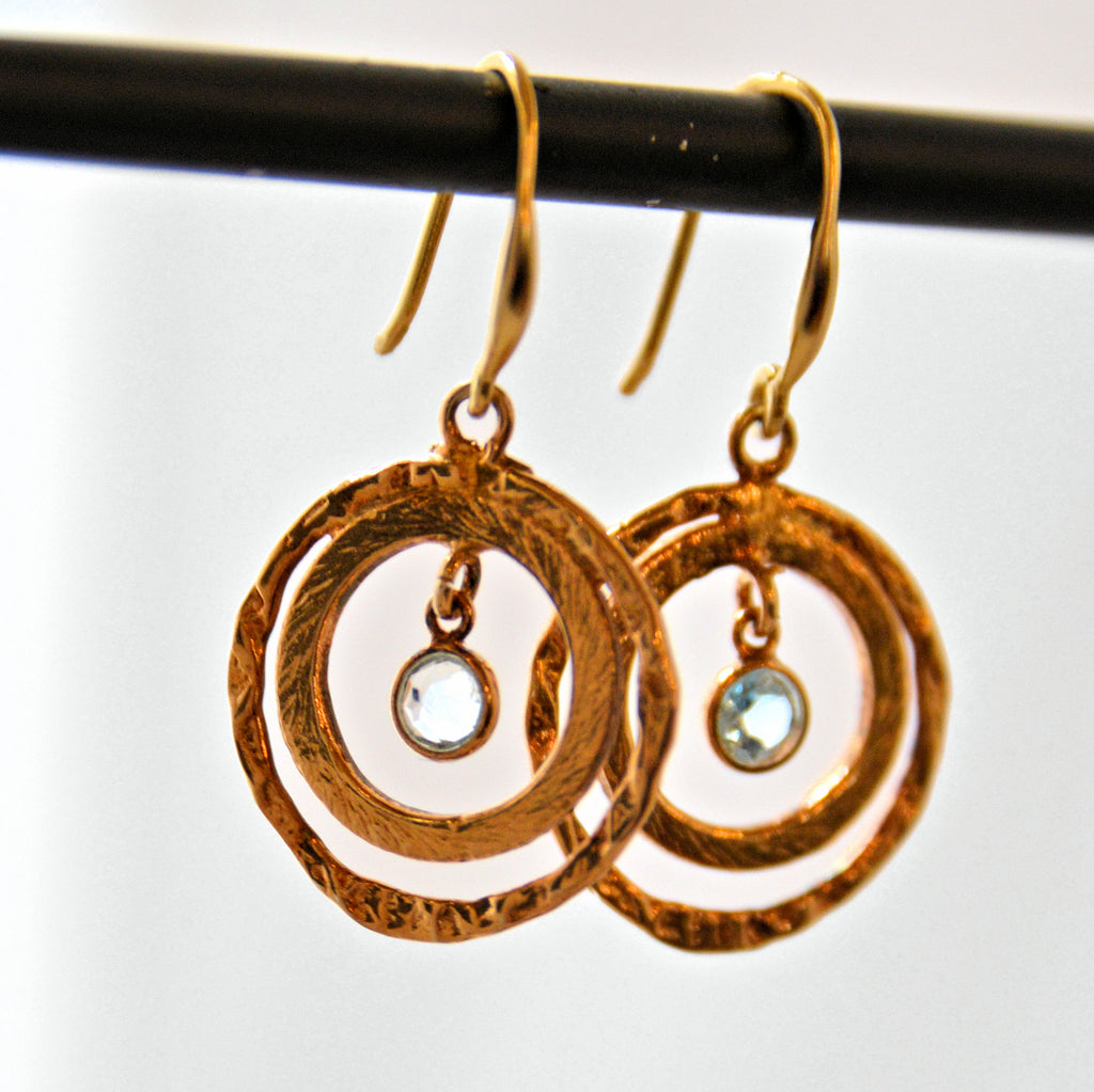 Gold Plate Double Circle French Hook Earrings with Gemstones