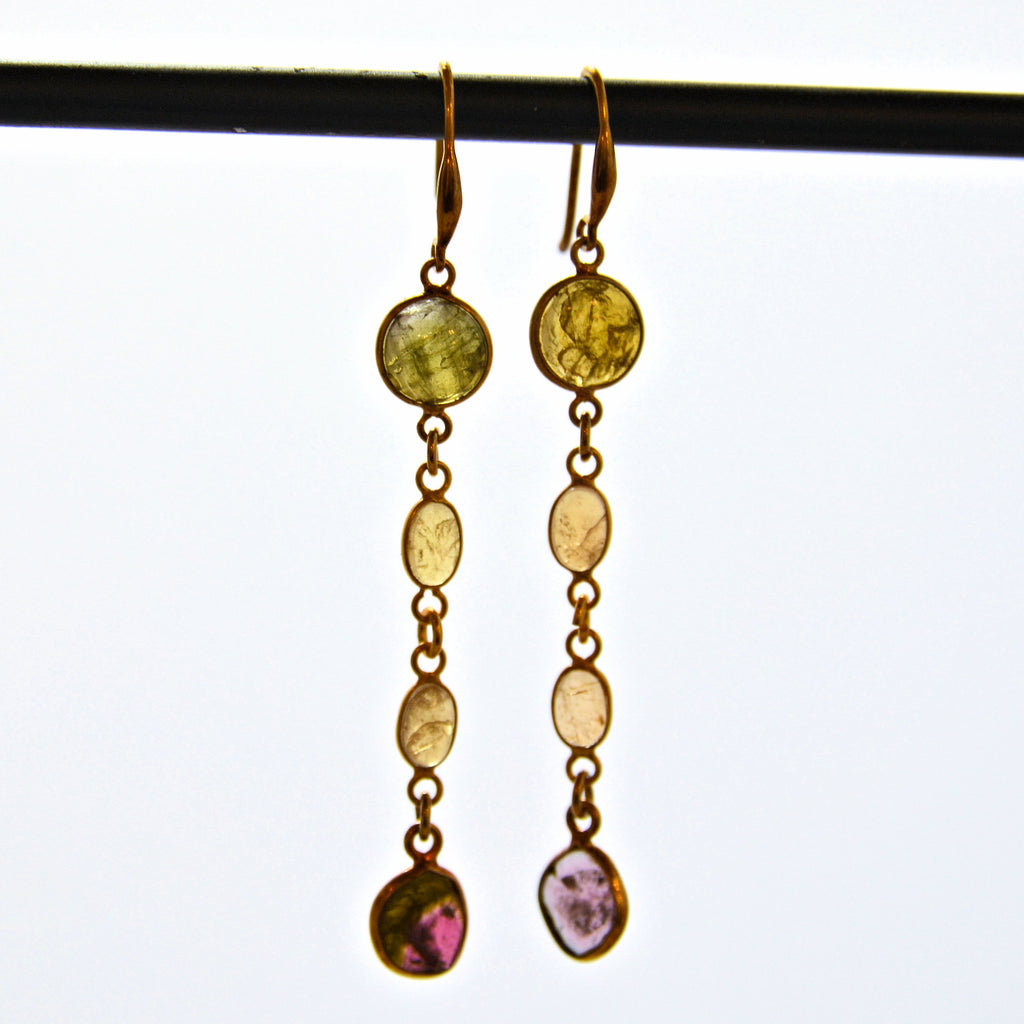 Tourmaline Gold Plate Dangling French Hook Earrings