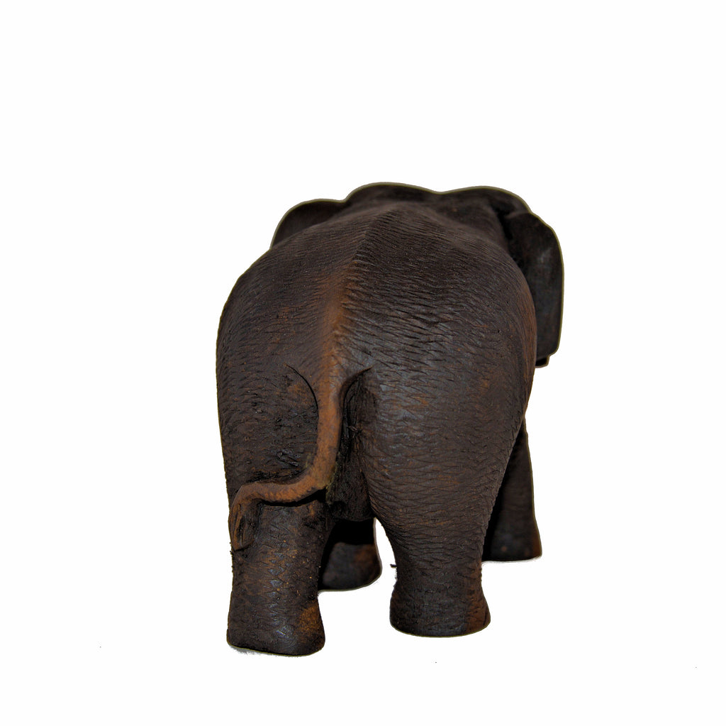 Wood Carved Elephant Figure (Walking, Right Foot Forward)