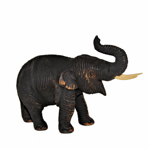 Wood Carved Elephant Figure (Walking, Trunk Up)