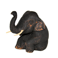 Wood Carved Elephant Figure (Sitting with Trunk Up)