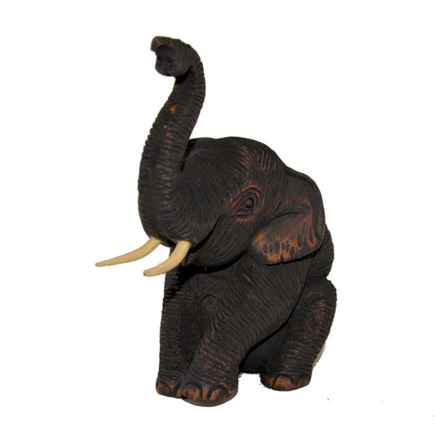 Wood Carved Elephant Figure (Sitting on Hip with Trunk Up)