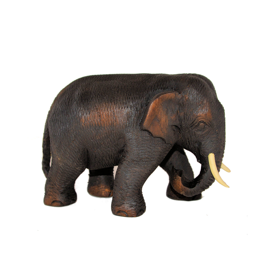 Wood Carved Elephant Figure (Walking, Left Foot Out)