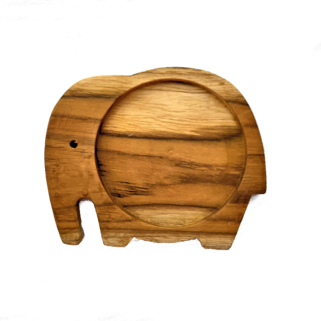 Sugar Palm Wood Elephant Coaster - Trunk Down