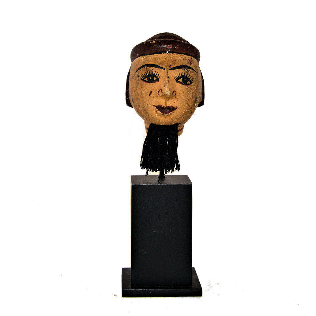 Antique Burmese Puppet Head on Stand (Small Man with Beard)