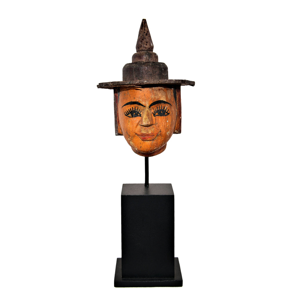 Antique Burmese Puppet Head on Stand (Small Man with Hat)