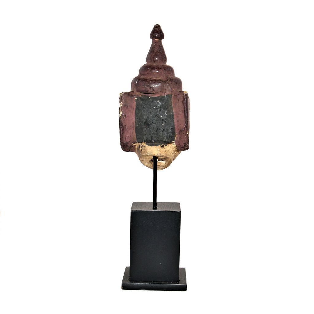 Antique Burmese Puppet Head on Stand (Small Man with Thai Hat)