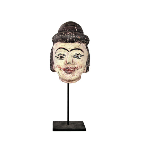 Antique Burmese Puppet Head on Stand (Medium Man with Bowl Hat)