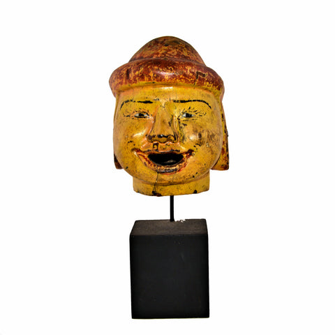 Antique Burmese Puppet Head on Stand (Large Man with Red Bowl Hat)