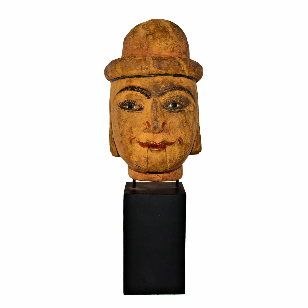 Antique Burmese Puppet Head on Stand (Extra Large Man with Bowl Hat)