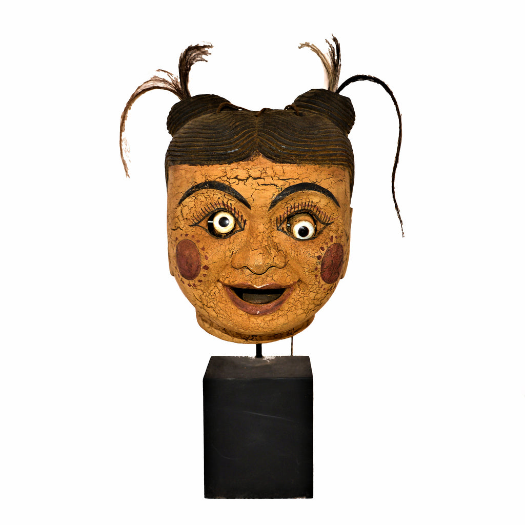 Antique Burmese Puppet Head on Stand (Extra Large Girl with Pigtails)
