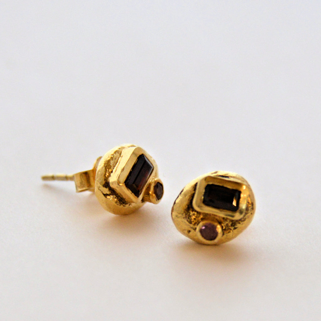Gold Plate Stud Earrings with Emerald Cut Gemstones
