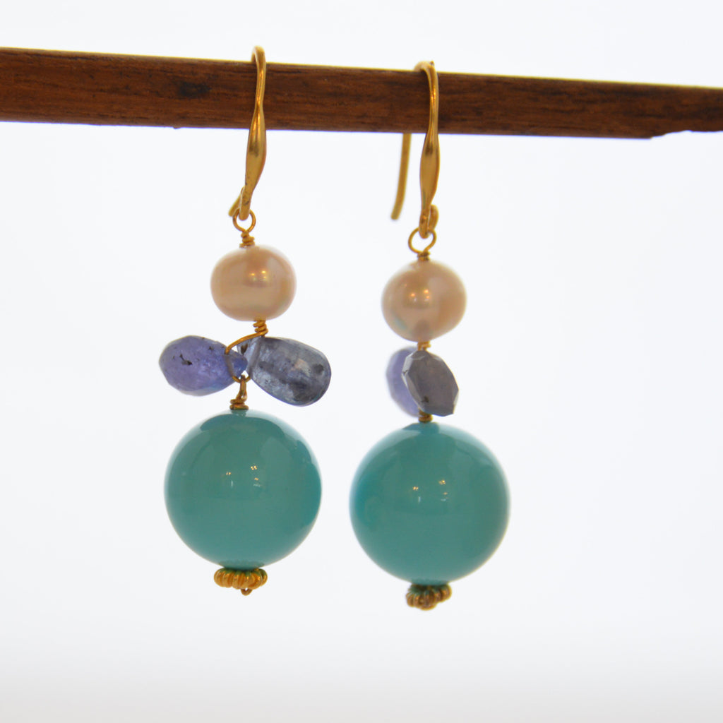 Turquoise with Pearl and Gemstone Earrings