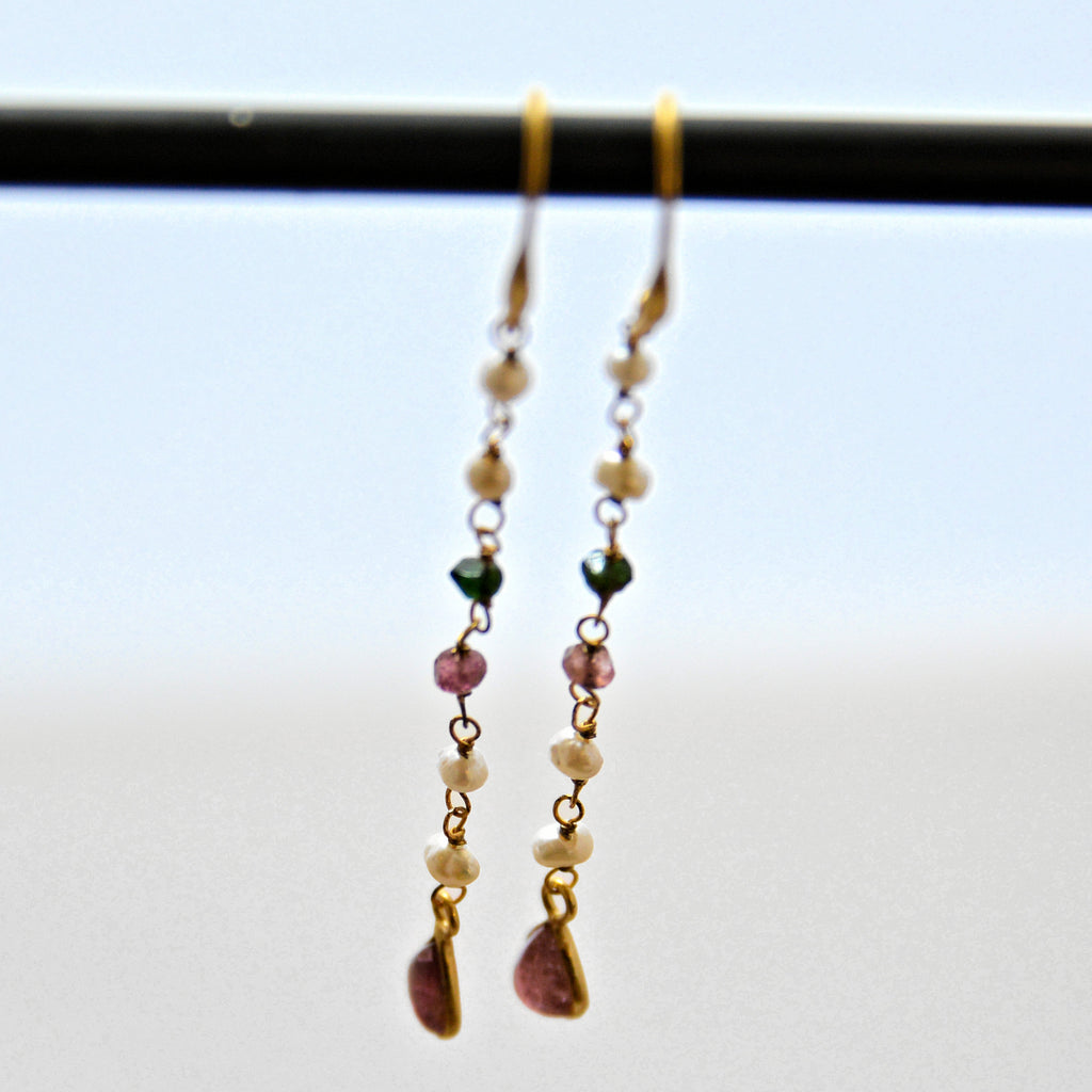 Pearl and Tourmaline Dangle Earrings