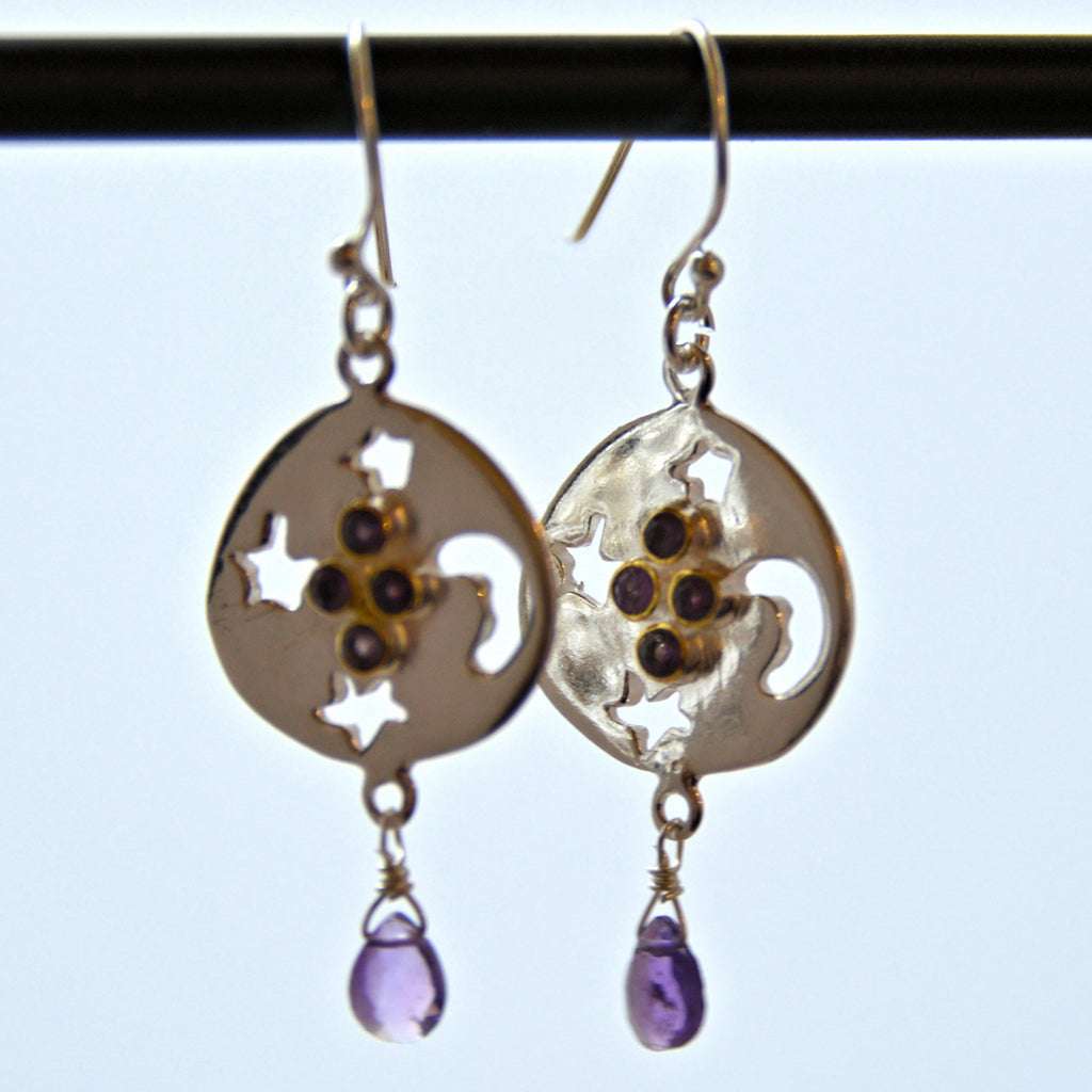 Silver Earrings with Cutouts and Amethyst