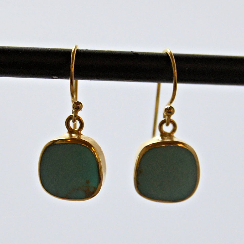 Turquoise and Sterling Silver French Hook Earrings