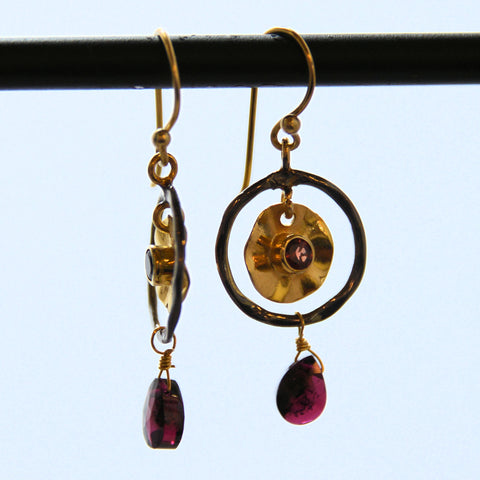 Oxidized Silver Ring Earrings with Gold Plate Inset and Gemstones