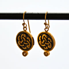 Round Gold Plate French Hook Earrings with Raised Design and Gemstones