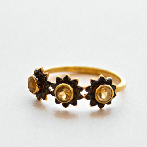 Gold Plate Ring with Garnets