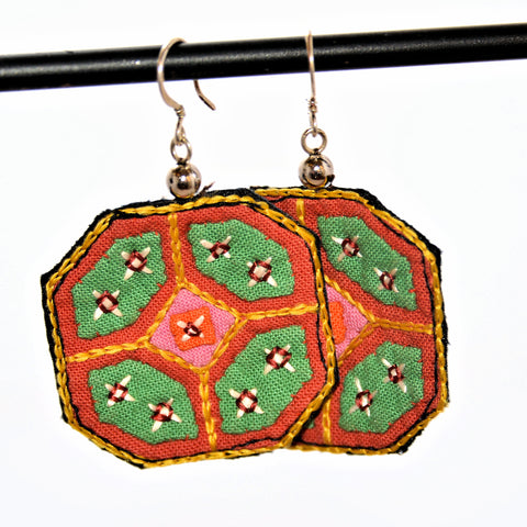 Hmong Fabric Earrings (Orange with Green accents)