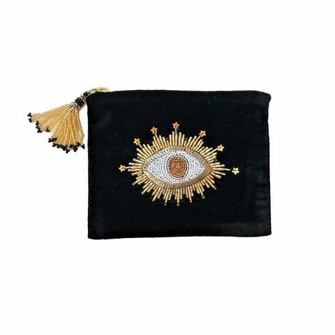 Velvet Mini Hand Pouch - Black with Gold Eye