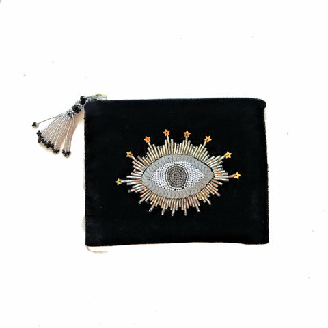 Velvet Mini Hand Pouch - Black with Silver Eye