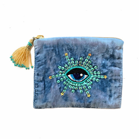 Velvet Mini Hand Pouch - Light Blue with Mint Eye