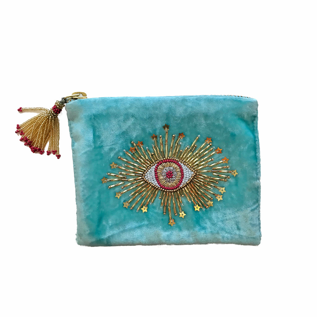 Velvet Mini Hand Pouch - Mint with Coral Eye