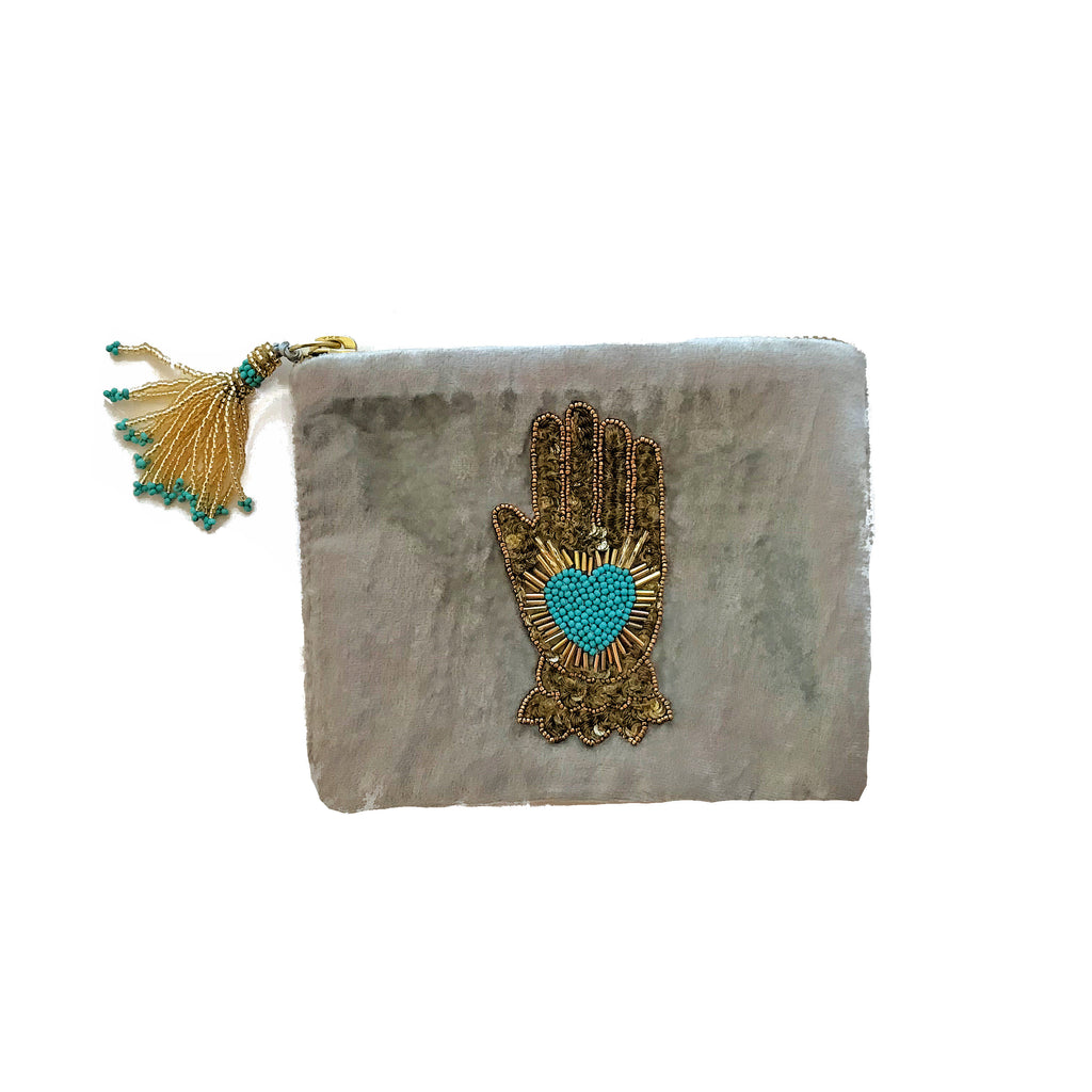 Velvet Mini Hand Pouch - Silver with Turquoise Hand with Heart