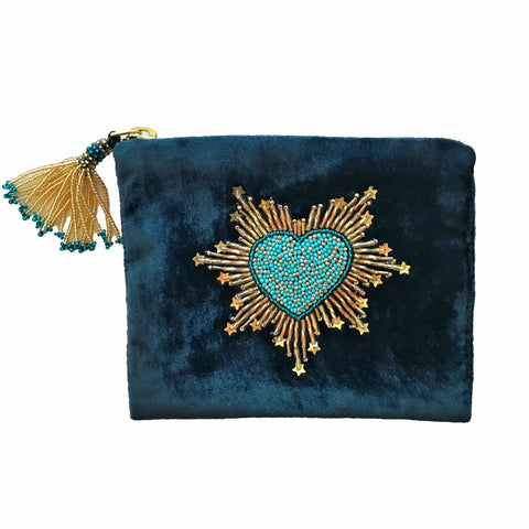 Velvet Mini Hand Pouch - Blue-Green with Turquoise Heart
