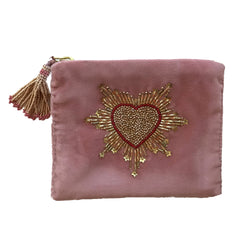 Velvet Mini Hand Pouch - Light Pink with Rose Heart