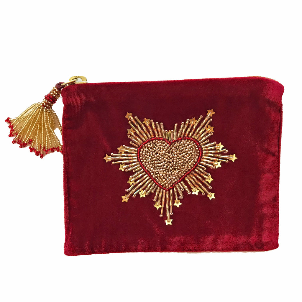 Velvet Mini Hand Pouch - Red with Gold Heart