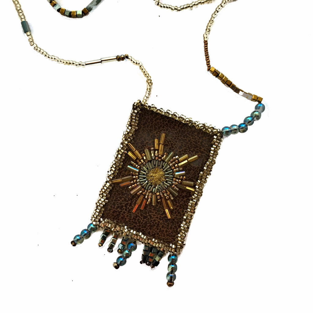 Olivia Dar Talisman Necklace - Brown with Gold and Bronze