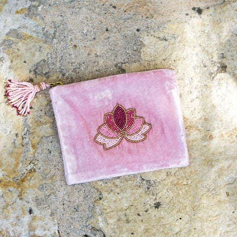 Velvet Mini Hand Pouch - Rose with Rose Lotus