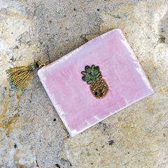 Velvet Mini Hand Pouch - Light Pink/Rose with Pineapple