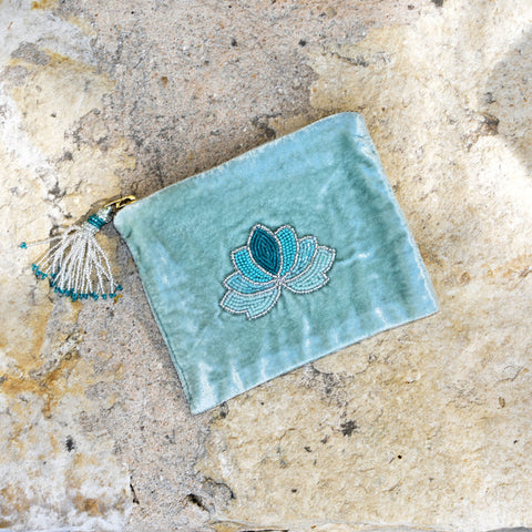 Velvet Mini Hand Pouch - Mint with Mint Lotus