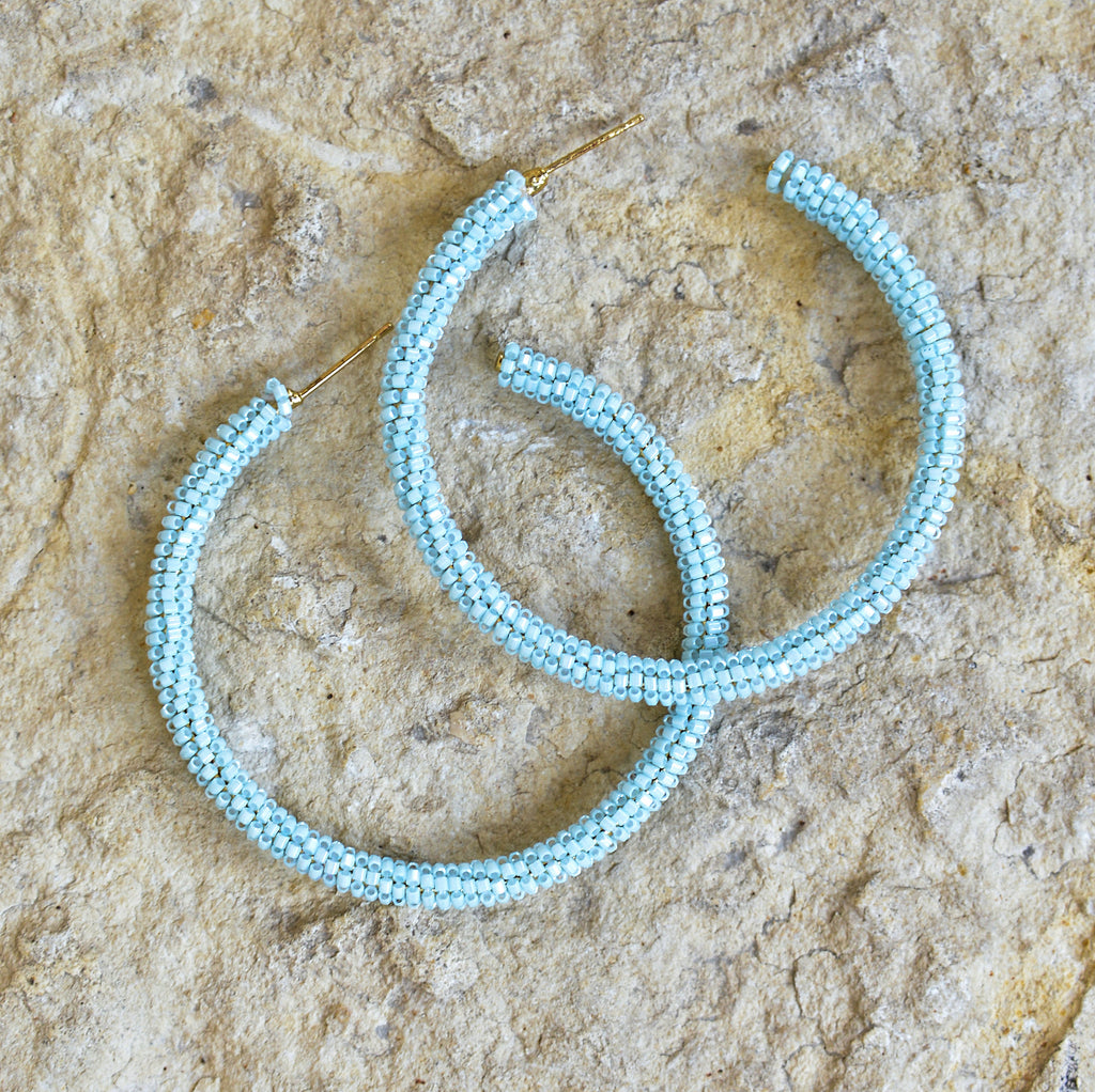 Hand-Beaded Hoop Earrings - Light Blue