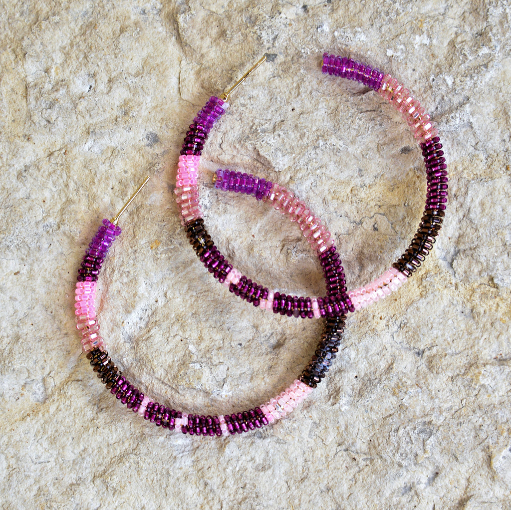 Hand-Beaded Hoop Earrings - Multi-Raspberry